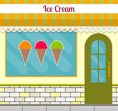 Ice cream shop facade in flat style. EPS10 vector illustration of city public building square architecture. Small business store design.