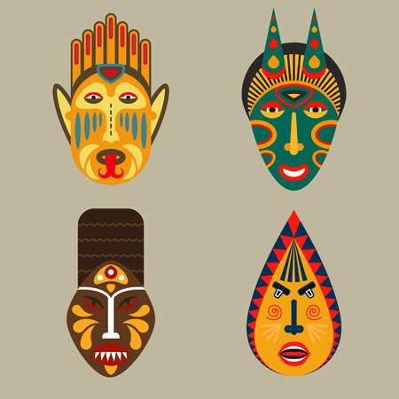 Set of ethnic mask icons in flat style. EPS10 vector collection of african tribal mask icons. Illustration