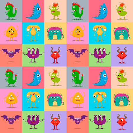 Seamless pattern of funny monster characters. EPS10 vector background of cute cartoon monsters.