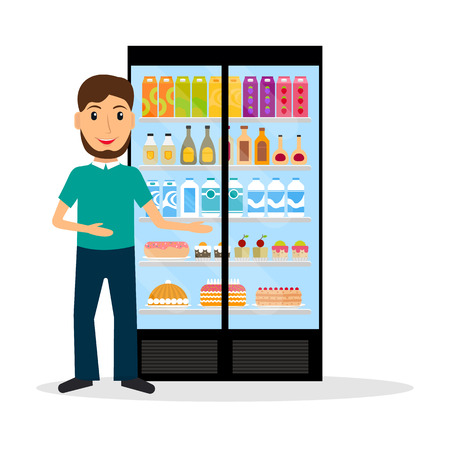 vitrine: Grocery store male salesperson against glass refrigerator with food in flat style. Smiling gesturing man retail store seller against vitrine with goods.