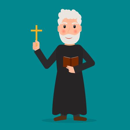 sotana: Pastor, sacerdote o evangelista con la cruz y la Biblia. EPS10 ilustración vectorial en estilo plano.