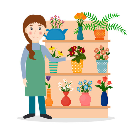 plant stand: Flower shop florist or female salesperson with houseplants and potted flowers. EPS10 vector illustration in flat style. Illustration