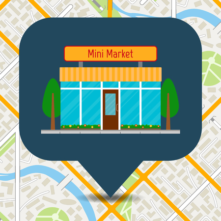 Mini market icon on city map. vector illustration in flat style.