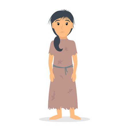 Dakloze vrouw. Vrouwelijke bedelaar in lompen. EPS10 vector illustratie in platte stijl.