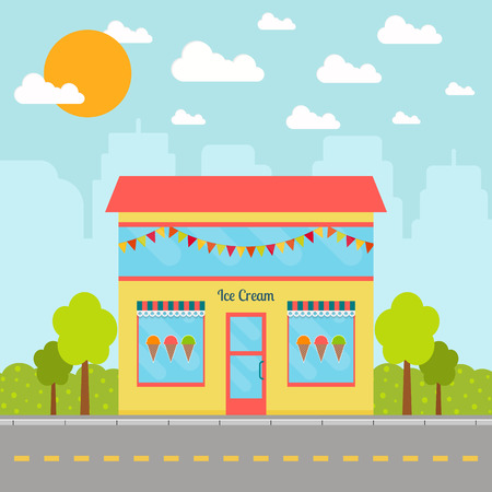 Ice cream shop building on city background. EPS10 vector illustration in flat style.
