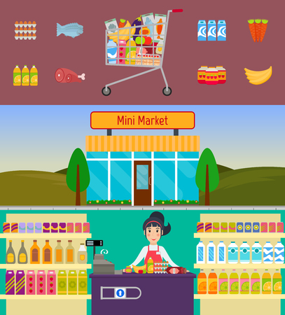 shop assistant: Shopping cart with food, mini market building and grocery store cashier at the counter. EPS10 vector illustration in flat style.
