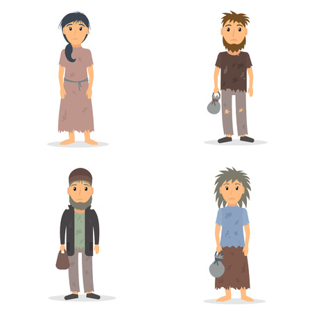 Homeless men and women set. Male and female beggar in rags collection. vector illustration in flat style.