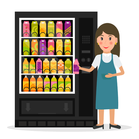 auto service: Vending machine with beverages, drinks and a woman.  vector illustration in flat style.