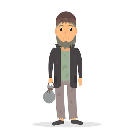 Homeless unemployed man. Beggar in rags.  vector illustration in flat style.