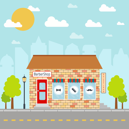 Barbershop building facade or front on city background.  vector illustration in flat style.