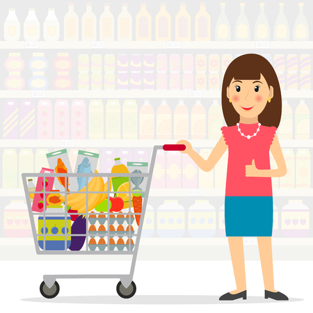 mujer en el supermercado: Woman with shopping cart with foods in the supermarket or grocery store. Female shopper. EPS10 vector illustration in flat style. Vectores