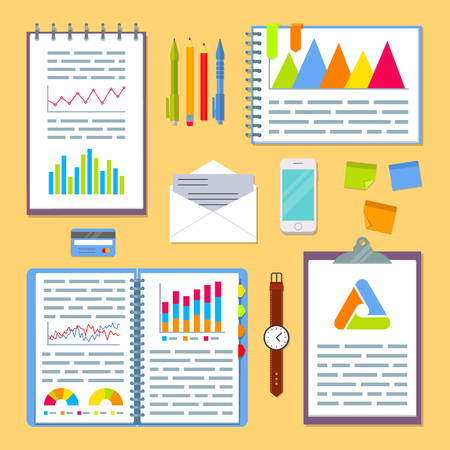 notebook: Business planning table with office supplies. Open spiral notebook with marketing strategy data, project charts and graphs. EPS10 vector illustration in flat style.