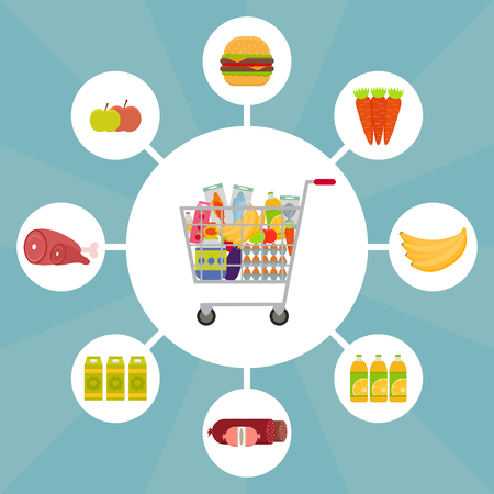 Full shopping cart with food icons. EPS10 vector illustration in flat style. Illustration