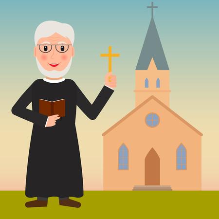 sotana: Pastor, sacerdote o evangelista con la cruz y la biblia cerca de la iglesia. EPS10 ilustración vectorial en estilo plano. Vectores