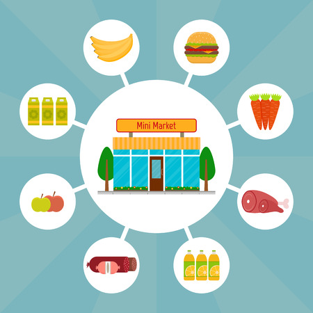 Minimarket fachada frontal del edificio y los iconos de alimentos. EPS10 ilustración vectorial en estilo plano.