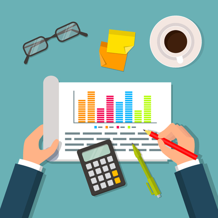 notebook: Hands holding open notebook with business plan data, charts and graphs. Illustration