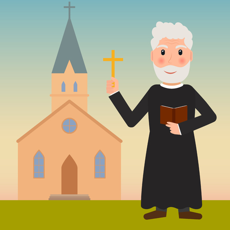 Pastor, priest or evangelist with cross and bible near the church vector illustration in flat style.