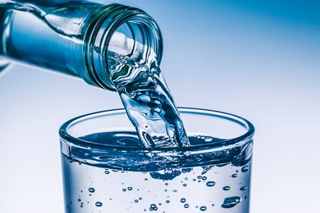 Glass is filled with fresh water