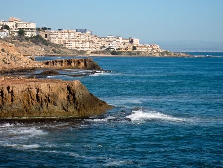 costa blanca: Rugged Spanish shoreline on Costa Blanca near Torrevieja