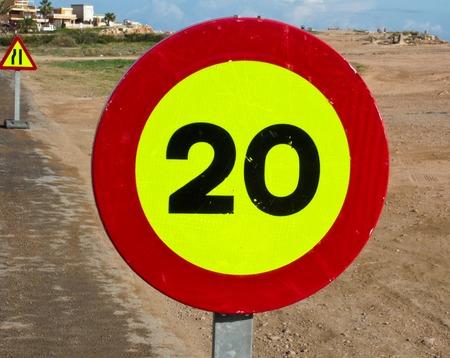 spainish: 20 Kph speed limit sign on Spainish roadside