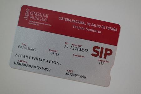 SIP Health Card of Spain Foto de archivo - 121304132