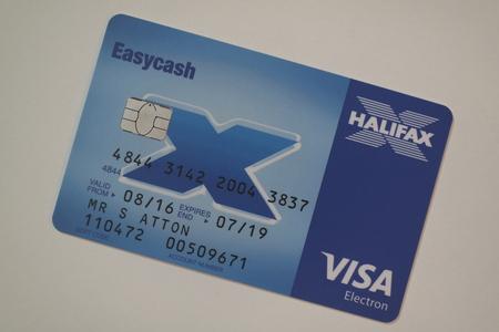 Halifax bank card on white Foto de archivo - 121304138