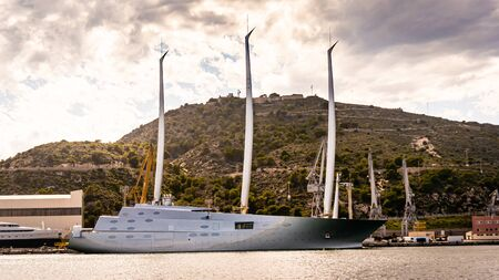 Cartagena Spain - 10 Mar 2018 : The second-gen A yacht Melnichenko commissioned is a 468-foot-long vessel that is the largest sail-powered boat in the world.