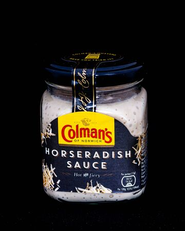Torrevieja, Spain - Sept 06 2019 : Colmans horseradish sauce isolated on black. Editorial