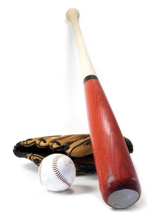 Baseball bat, ball and glove isolated against white photo