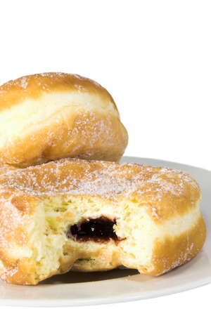 Two doughnuts on a plate against a white background