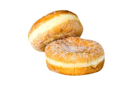 Two doughnuts isolated against a white background
