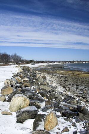 Scenic beach in winter with blue sky Stock Photo - 1209448