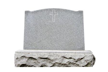 Blank granite headstone set against white background