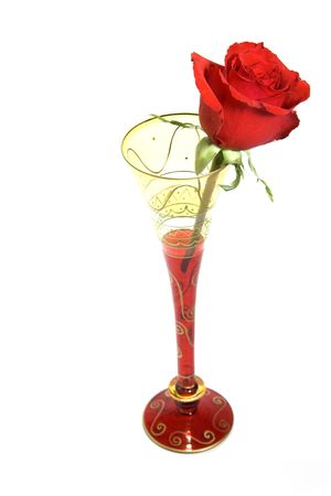 A single red rose in a cocktail glass isolated against a white background