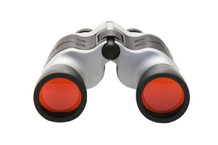 closer: Binoculars with red lens isolated against white