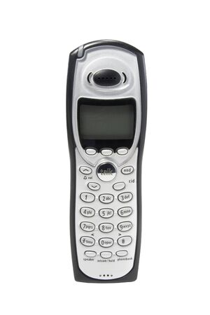 handset: Cordless phone handset isolated against white Stock Photo