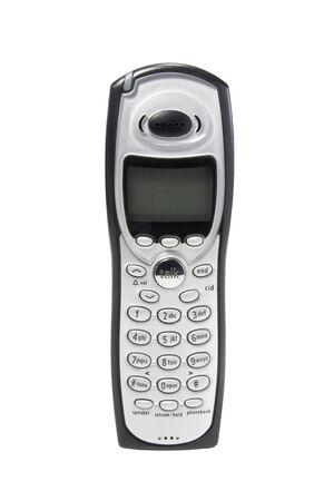phone handset: Cordless telefono portatile isolato contro bianco