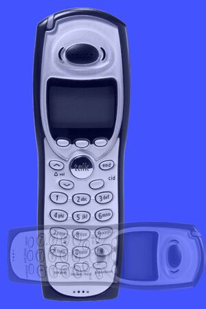 handset: Cordless phone handset abstract design on blue