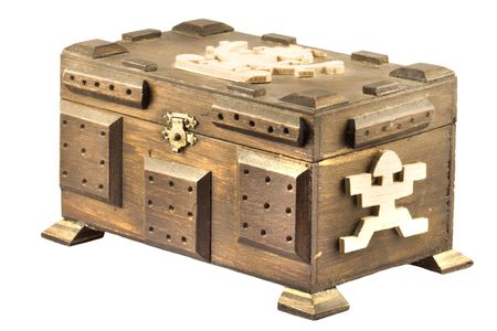 opulent: An old wooden treasure chest against a white background