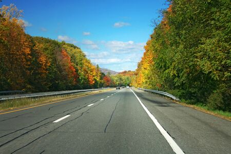 Highway fading into distance with autumn trees