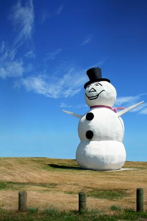 Happy snowman set against bright blue sky Stock Photo - 1695633