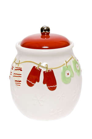 sweetened: Decorative cookie jar with oven gloves