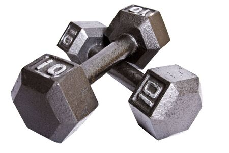 strongest: Two ten pound dumbells isolated on white