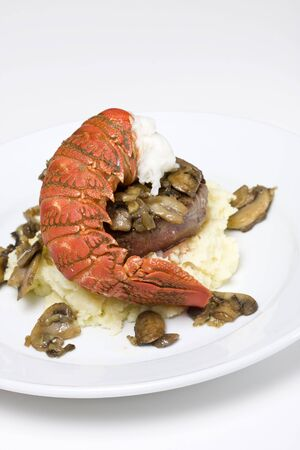 Filet steak and lobster on mashed potatoes Stock Photo