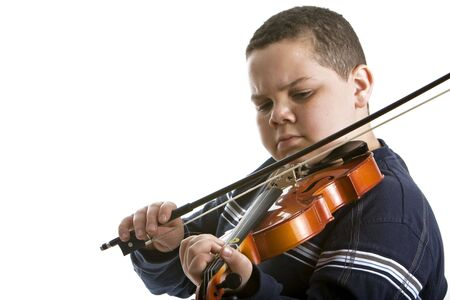 violin: Young boy playing violin on white background