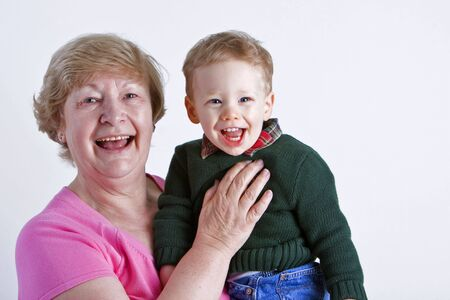 Grandmother with smiling grandson  photo