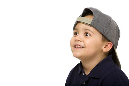 Young latino boy wearing baseball cap Stock Photo