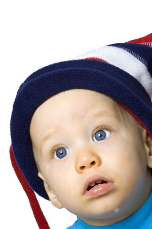 Baby boy in winter hat against white background Stock Photo - 3124393