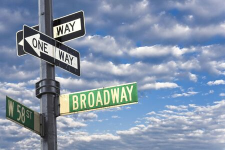 Broadway sign in Manhattan New York against a cloudy sky Stock Photo - 3185098