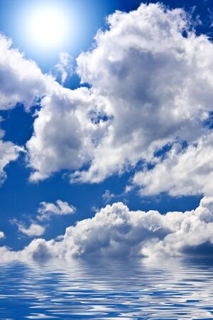 Blue sky with clouds and sun Stock Photo - 3264248